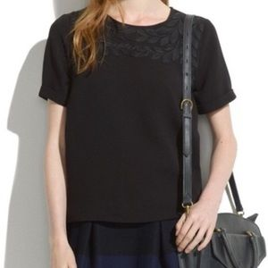 Madewell Embroidered Cuff Leaf Top Sz XS